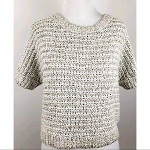 Free People Ivory Cable Knit Linen Crop Top